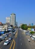 在老镇的街道在仰光,缅甸 库存图片