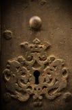 在老门的关键孔 库存照片