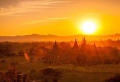 在老Bagan的日落 库存图片