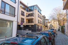在老Bourgas的现代建筑学在保加利亚 免版税图库摄影