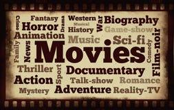 在老filmstrip背景的电影词 图库摄影