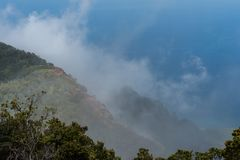 在考艾岛,夏威夷的美好的Kalalau监视远景 图库摄影