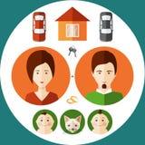 在考虑他的房子, childr一个平的样式的年轻家庭  免版税库存照片