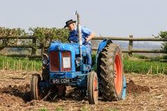 在耕的比赛的老蓝色fordson少校拖拉机 图库摄影