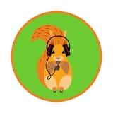 在耳机的图象灰鼠 免版税库存照片