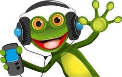 在耳机的青蛙 免版税库存图片