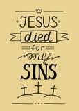 在耶稣上写字的手为我的罪孽死了 库存图片