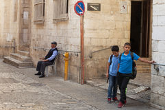 在耶路撒冷上街道  库存照片