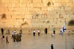 在耶路撒冷和旗子的西部墙壁 库存图片