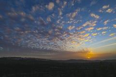 在耶路撒冷山的日落  免版税库存照片