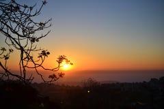 在耶路撒冷法国小山的美好的日出往Judean沙漠以色列 免版税库存图片