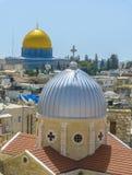在耶路撒冷耶路撒冷旧城屋顶的一个看法  免版税图库摄影