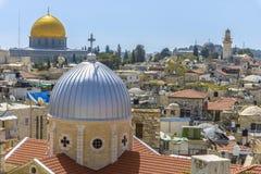 在耶路撒冷耶路撒冷旧城n屋顶的一个看法  免版税库存照片