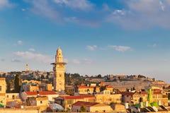 在耶路撒冷耶路撒冷旧城n屋顶的看法  库存图片