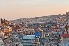 在耶路撒冷耶路撒冷旧城n屋顶的看法  图库摄影