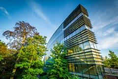 在耶鲁大学校园里的现代大厦,在纽黑文, 免版税库存照片
