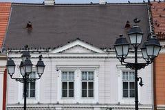 在联合广场的老大厦门面 免版税库存图片
