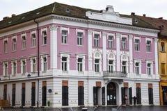 在联合广场Piata Unirii的老大厦 库存图片