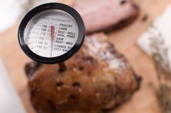 在肉的肉温度计 免版税库存图片