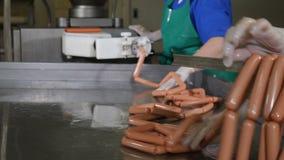 在肉食品处理工厂的香肠生产 食物工厂 香肠工厂劳工生产香肠 贪婪 影视素材