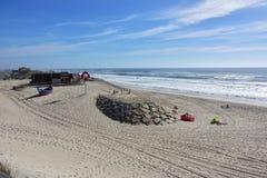 在肋前缘新星的沙丘,在阿威罗,葡萄牙附近的一个著名海滩 免版税库存照片