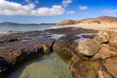 在肋前缘Papagayo加那利群岛的兰萨罗特岛Playa del Pozo海滩 免版税库存图片