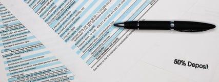 在股东报告书的资产负债表,资产负债表 分析企业构成欧洲财务玻璃收入墨水货币笔语句 免版税库存照片