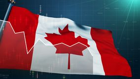 在股票市场背景,贸易金融多伦多,美元货币的加拿大旗子 库存例证