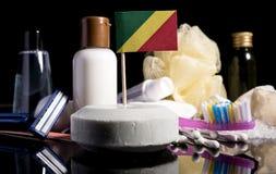 在肥皂的刚果共和国旗子有的所有产品的 库存图片