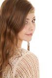 在肩膀的吉普赛妇女神色 库存照片