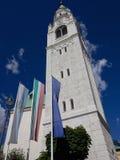 在肾上腺皮质激素d'Ampezzo,意大利的钟楼 免版税库存图片