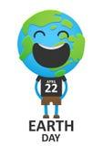 在背心的成人微笑的行星地球 免版税库存照片