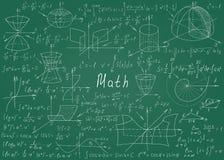 在背景的一个绿色黑板用手画的数学公式 也corel凹道例证向量 皇族释放例证