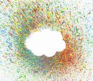 在背景的云彩形状与五颜六色飞溅 库存图片