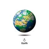 在背景的传染媒介地球与标志 库存照片