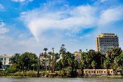 在背景的大厦在开罗,埃及 免版税库存照片