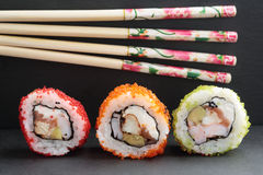 在背景的寿司 免版税图库摄影