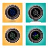在背景的摄象机镜头, len标志,照相机标志, 免版税库存照片