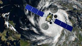 在背景的旋风,虚构的天气卫星飞行过去, 3d动画 所有纹理在图表被创造了 皇族释放例证
