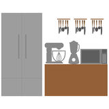 在背景的时髦的五颜六色的厨房元素 皇族释放例证