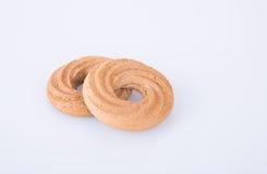 在背景的曲奇饼或圆环饼干 免版税图库摄影