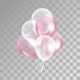 在背景的桃红色透明气球 库存图片
