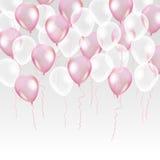 在背景的桃红色透明气球 免版税图库摄影