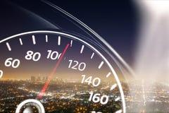 在背景的现代汽车车速表 免版税图库摄影