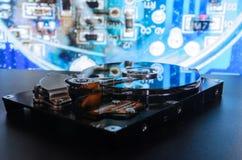 在背景的硬盘 搜集数据,归档重要数据 免版税库存照片
