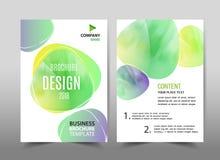 在背景的绿色生态设计 小册子模板布局 图库摄影