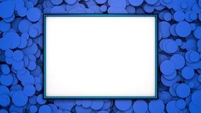 在背景的蓝色框架与蓝色圈子 与自由空间的图表例证设计或文本的 3d翻译 免版税库存照片