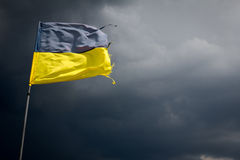 在背景的被撕毁的乌克兰旗子风雨如磐 库存图片