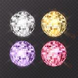 在背景的迪斯科球 夜总会党光元素 迪斯科舞蹈俱乐部的明亮的镜子球设计 图库摄影