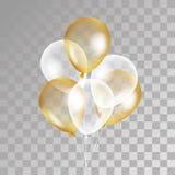 在背景的金透明气球 库存照片